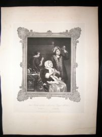 After Caspar Netscher C1840 LG Folio Print. The Sick Lady